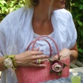 "BRACELET ROSE ""watch"" hand felted out of 60% silk 40% merino wool"